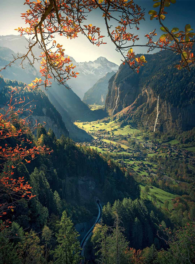 Lauterbrunnen Autumn view in switzerland during afternoon - as acrylic print in full size