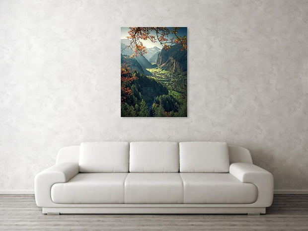 Lauterbrunnen Autumn acrylic print by max rive hanged in big size on wall