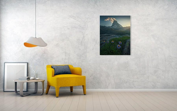 Canvas Print of Matterhorn during summer hanged on wall