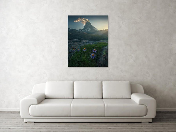 Canvas Print of Matterhorn during summer hanged on wall in living room