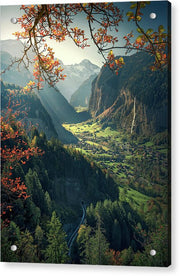 Lauterbrunnen Autumn acrylic print max rive with aluminum mounting posts