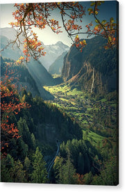 Lauterbrunnen Autumn acrylic print max rive with hanging wire