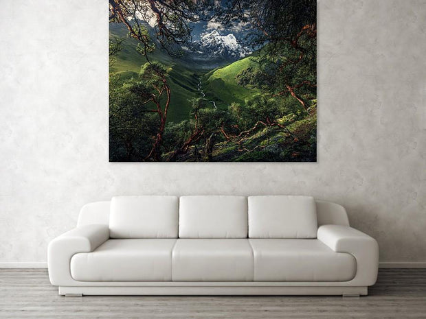 Canvas print of green mountain in peru hanged on the wall in a living room