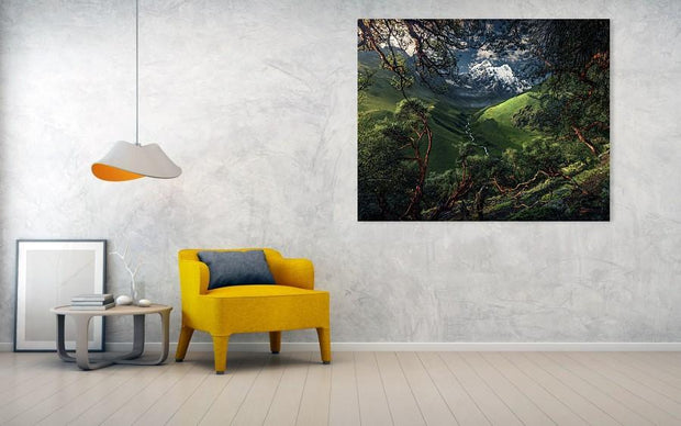 Canvas print of green mountain in peru hanged on the wall