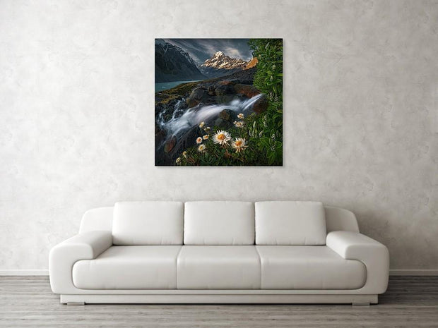 Mount Cook Print hanged on wall displaying flowers and a waterfall in summer