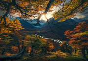 patagonia fall colors view with sun and river - canvas print preview