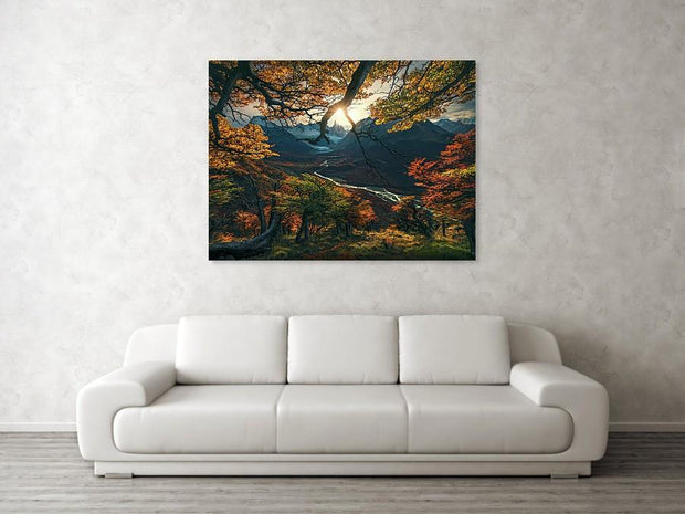 patagonia fall colors view with sun and river - canvas print hanged in a living room