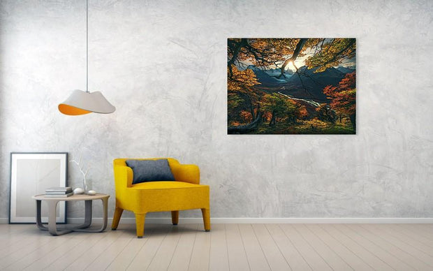 patagonia fall colors view with sun and river - canvas print hanged on wall