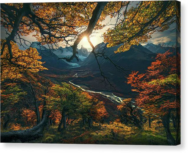 patagonia fall colors view with sun and river - canvas print with mirrored sides
