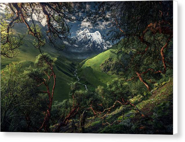 canvas print of green mountain in peru with white borders