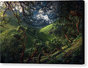 canvas print of green mountain in peru with black borders