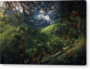 canvas print of green mountain in peru with mirrored borders