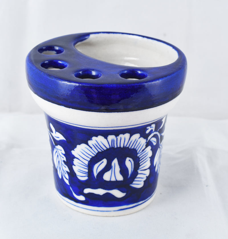Jaipuri blue ceramic brush holder
