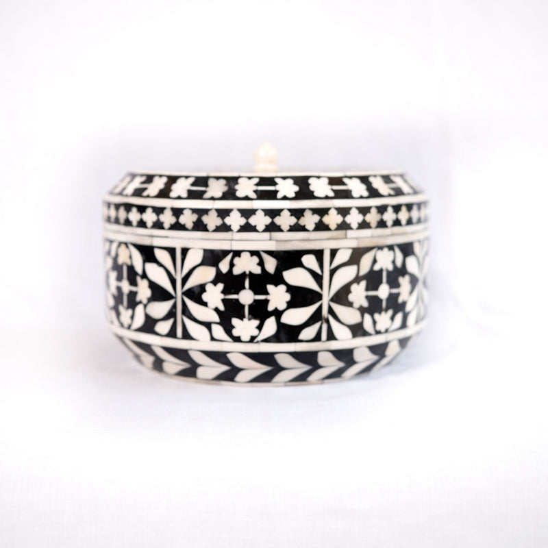 Bone Inlay Botanical Round Box (Black)