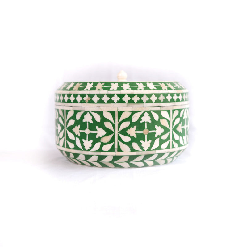 Bone inlay Box in round