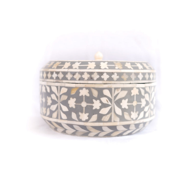 Bone Inlay Botanical Round Box (Grey)