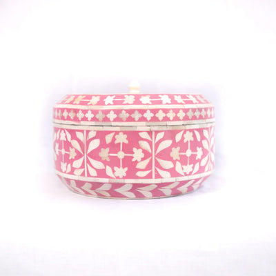 Bone Inlay Botanical Round Box (Pink)