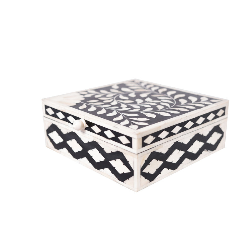 Bone Inlay Square Decorative Box (Black)