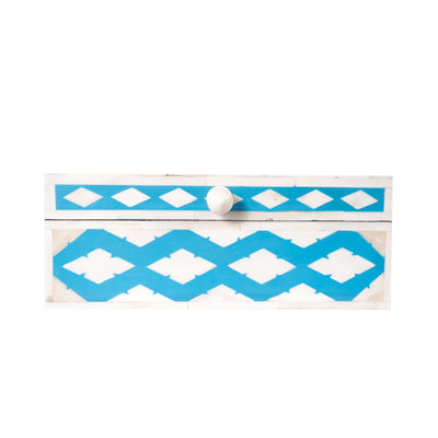 Bone Inlay Square Decorative Box (Blue)