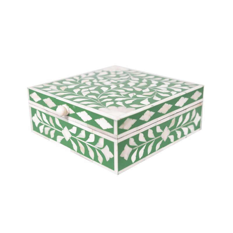 Bone Inlay Square Botanical Box (Green)