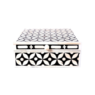 Bone Inlay Square Geometric Box (Black)