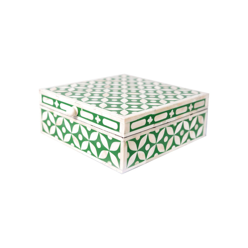 Bone Inlay Square Geometric Box (Green)