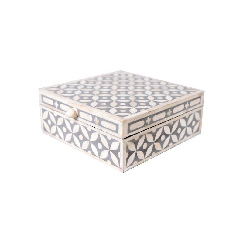 Bone Inlay Square Geometric Box (Grey)