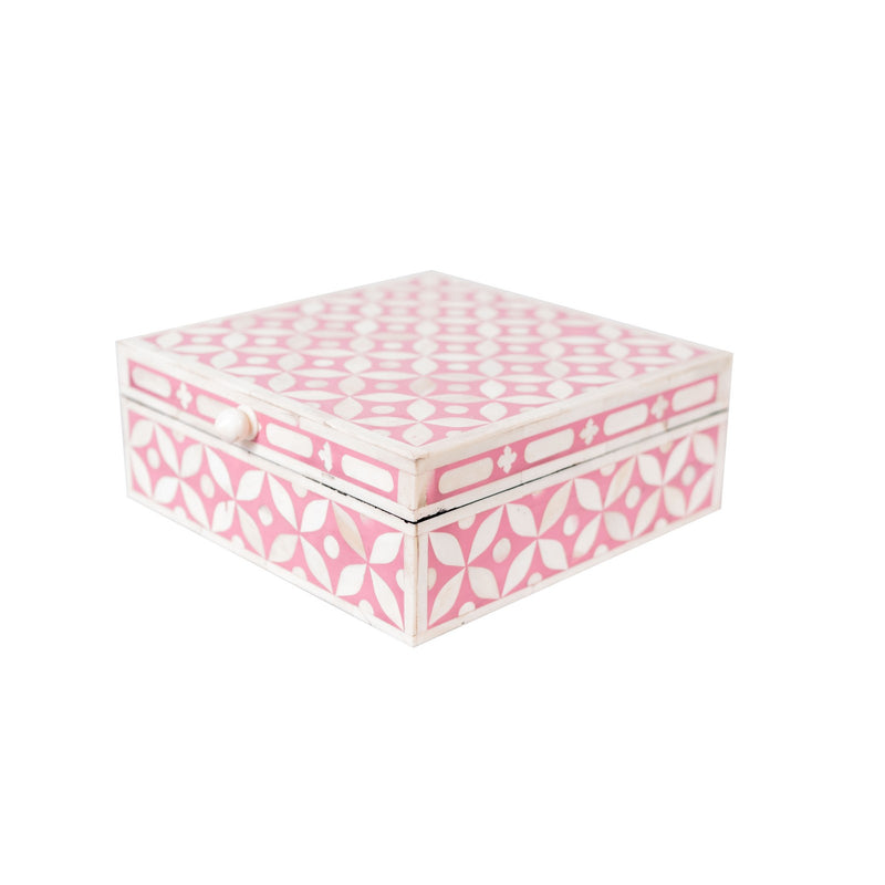 Bone Inlay Square Geometric Box (Pink)