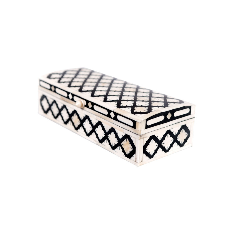 Bone Inlay Fish Scale Rectangle Box (Black)
