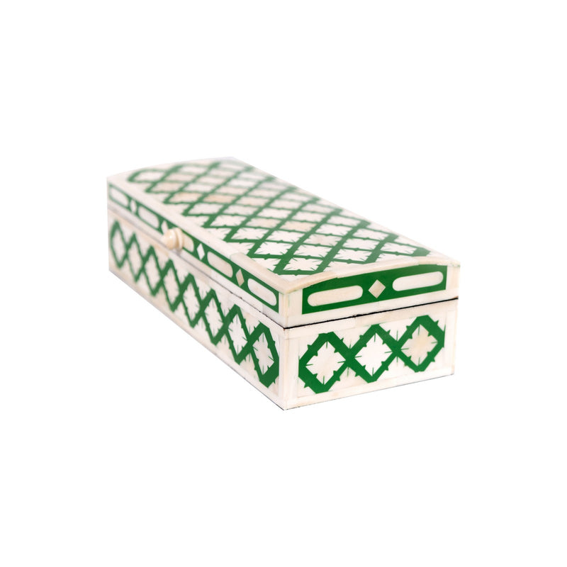 Bone Inlay Fish Scale Rectangle Box (Green)