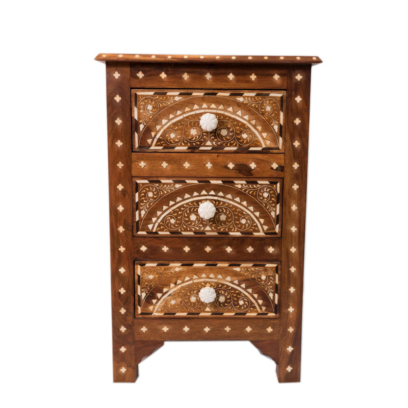 Wood Bone inlay Side Table - 3 Drawer