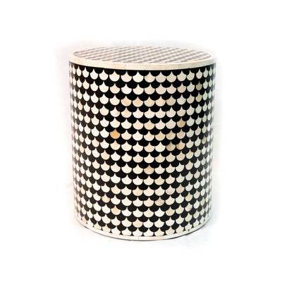 Bone Inlay Fish Scale Round Stool
