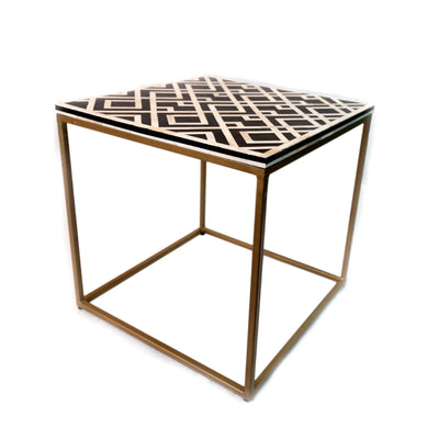 Bone Inlay Diamond Side Table with Brass Base