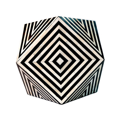 Bone Inlay Diamond Bedside Table Cube