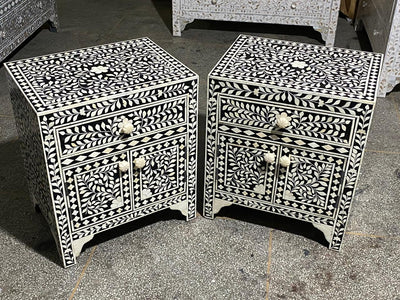 Bone Inlay Black Floral Bedside