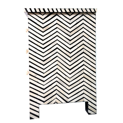 Bone Inlay Chevron Bedside Table