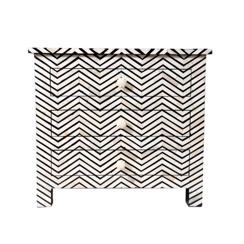 Bone inlay Bed side table in chevron