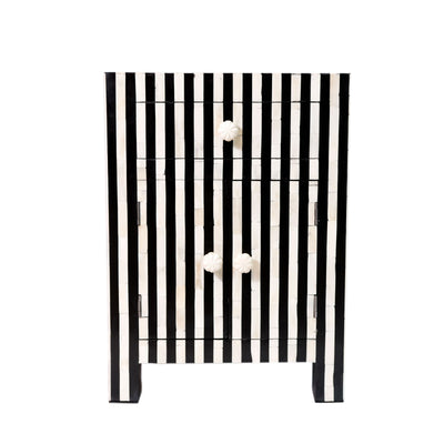 Bone Inlay Striped Bedside Table