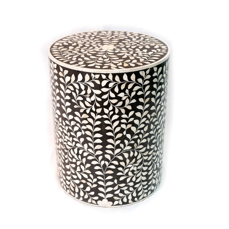 Bone Inlay Round Floral Stool (Black)