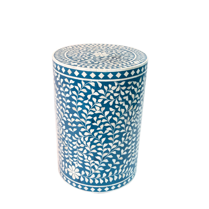 Bone Inlay Round Floral Stool