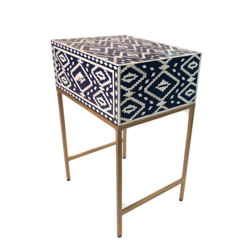 Bone Diamond Bedside Table with Brass Base (Blue)
