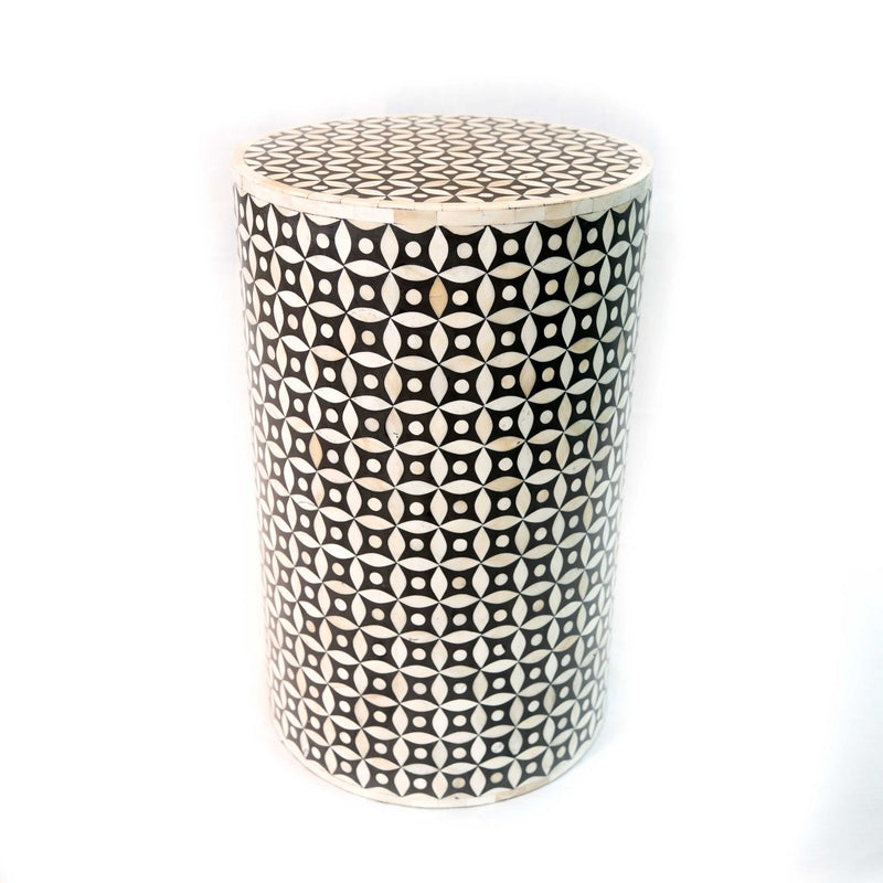 Bone Inlay Round Stool Geometric