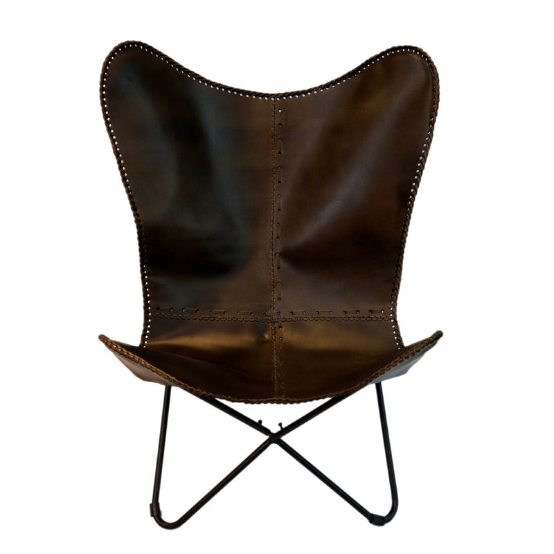 Butterfly Chair with Iron Frame (Dark Brown)