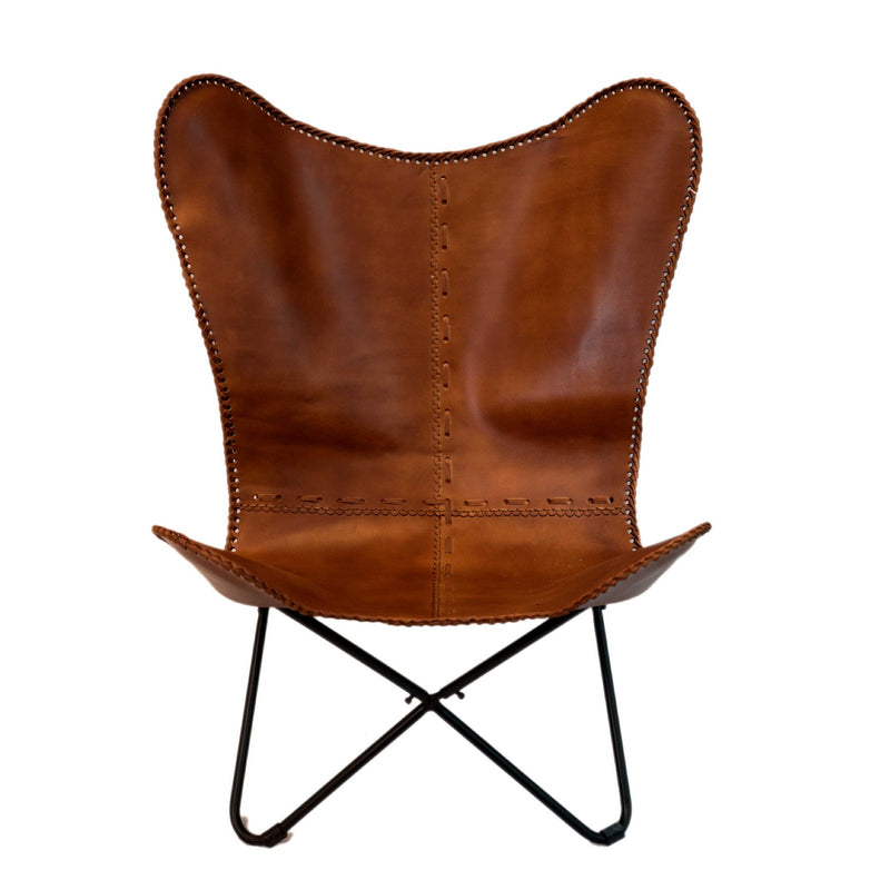 Butterfly Chair with Iron Frame (Light Brown)