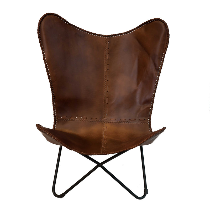 Butterfly Chair with Iron Frame (Mid Brown)