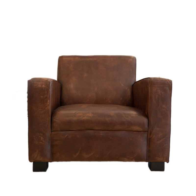 Wooden Leather Fitted Sofa (Brown)