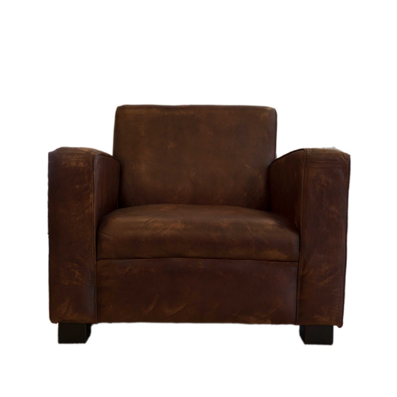 Wooden Leather Fitted Sofa (Dark Brown)