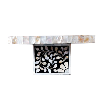 Floral Mother of Pearl Cake Stand (Black)