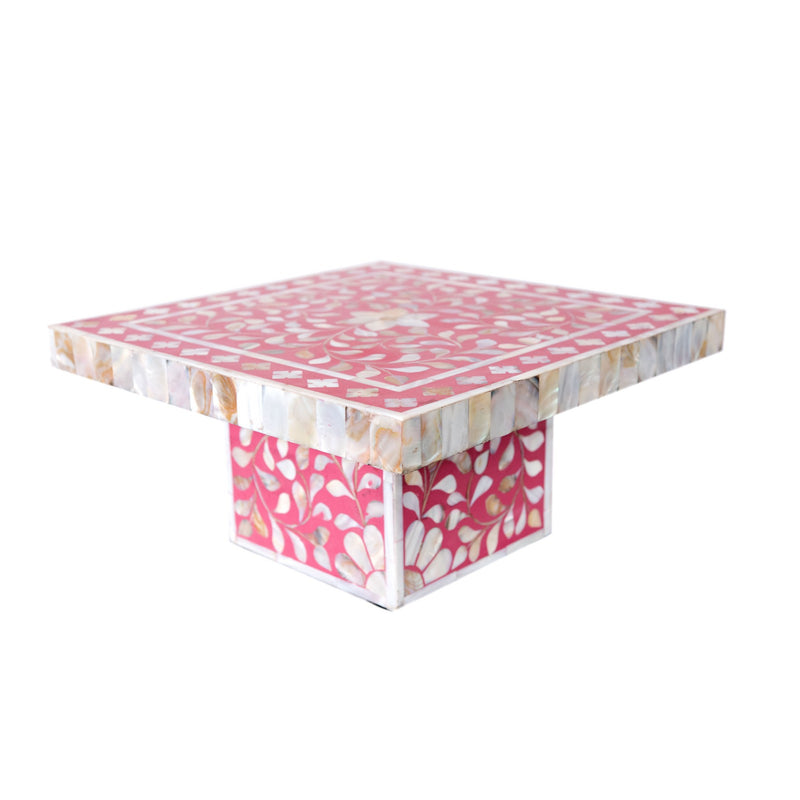 Floral Mother of Pearl Cake Stand (Pink)