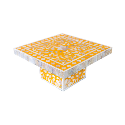 Floral Mother of Pearl Cake Stand (Yellow)